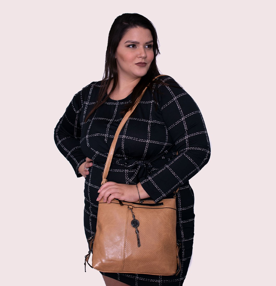 Bolsa Feminina Grande Transversal Detalhe Chaveiro Textura