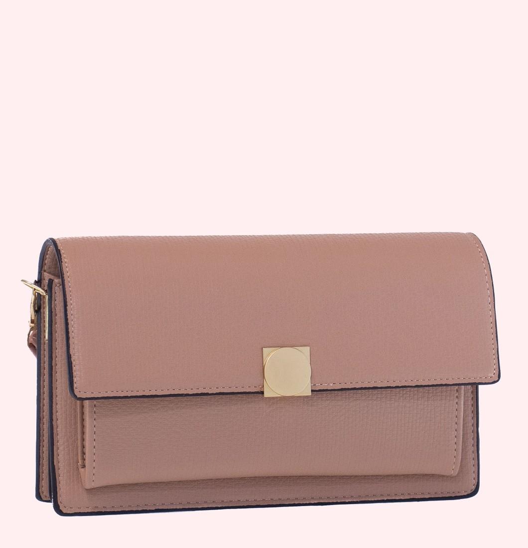 Bolsa Lateral Feminina Pequena Com Detalhe Dourado