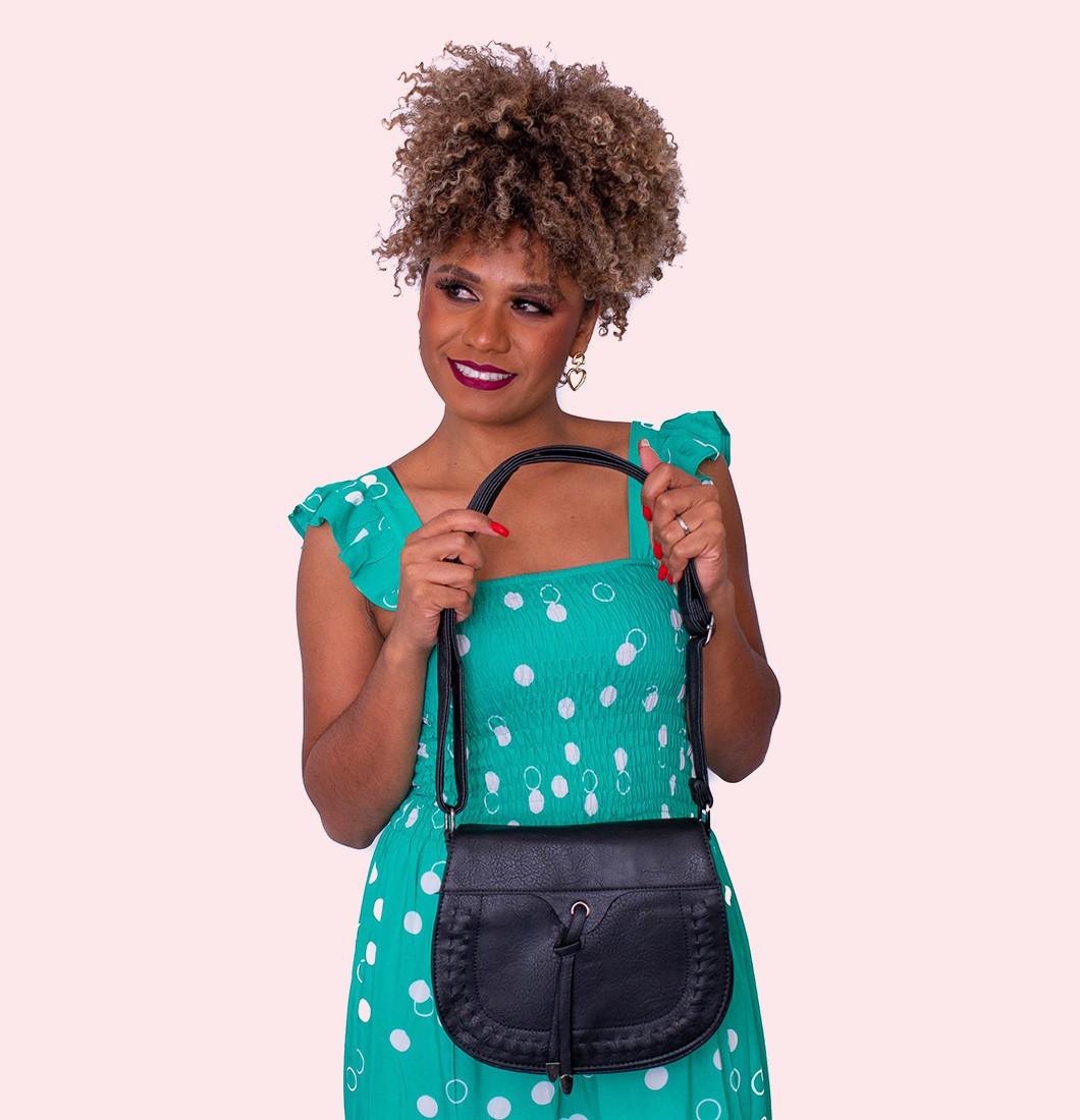 Bolsa Feminina Lateral Textura Detalhe Costura