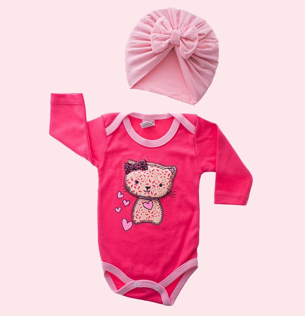 Kit Body Bebê com Turbante Rosa