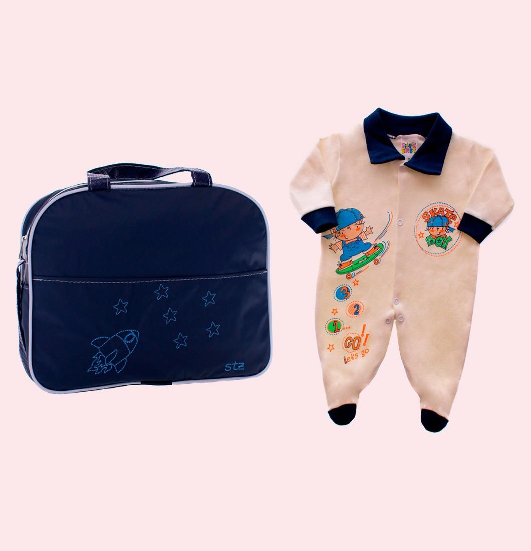 Kit Bolsa Maternidade e Macacão