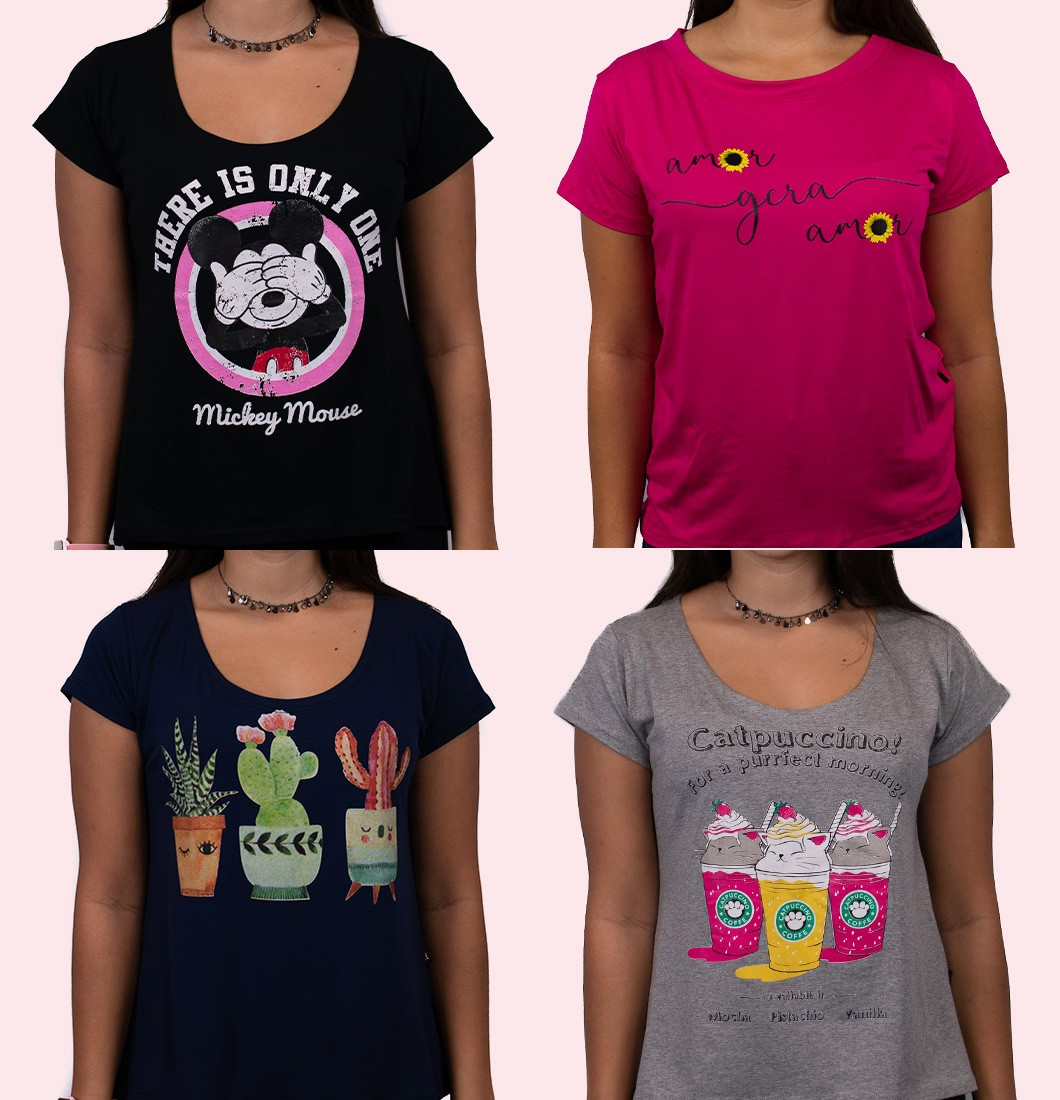 Kit Quatro T Shirts Feminina Estampadas