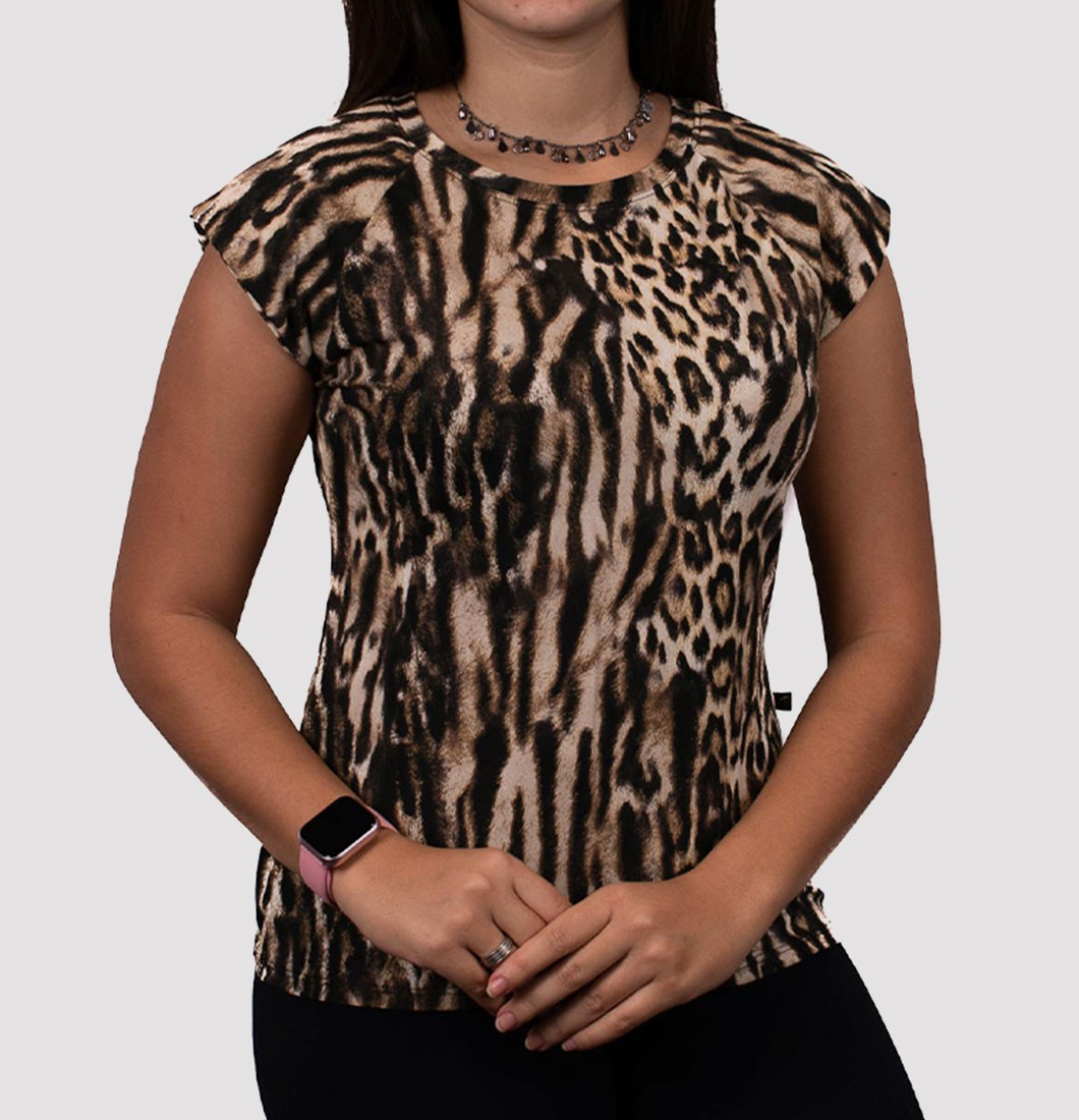 Muscle Tee com Estampa de Animal Print