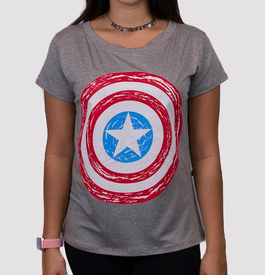 T Shirt Feminina com Estampa Capitão América
