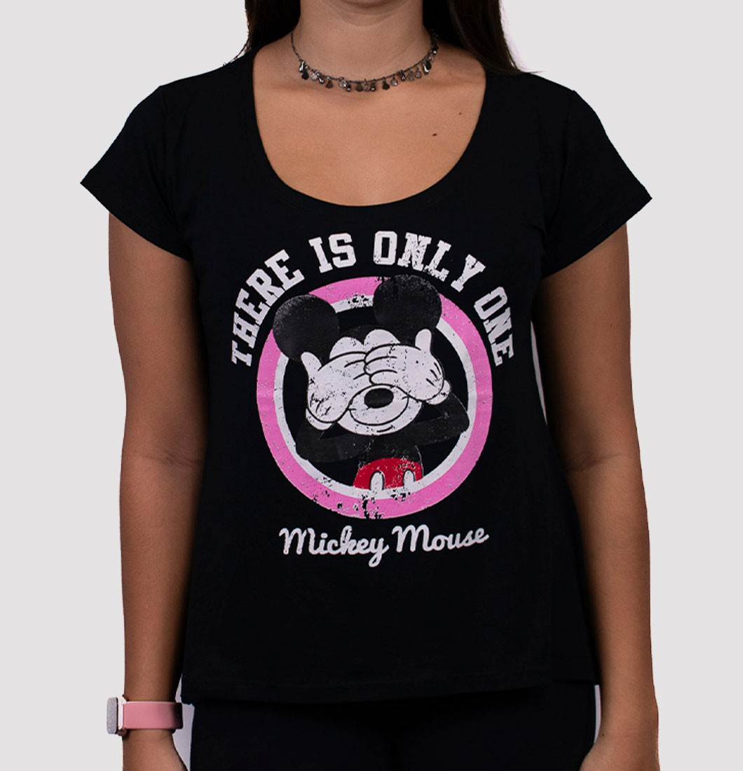 T Shirt Feminina com Estampa Mickey