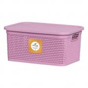 Caixa Organizador De Plastico Vazado Rosa Com Tampa - Rischioto 15 Litros