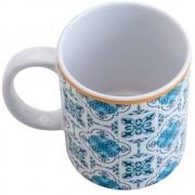 Caneca De Porcelana Lisboa Azul E Branca - Lyor