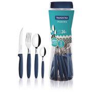 Conjunto De Talheres Inox 24 Peças Azul Ipanema Tramontina 23399191