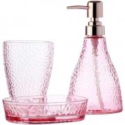 Conjunto 3Pc P/Banheiro De Vidro Elegant Rosa