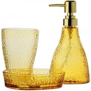 Conjunto 3Pc P/Banheiro De Vidro Elegante Âmbar