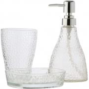 Conjunto 3Pc Para Banheiro De Vidro Elegant Prateado - Lyor