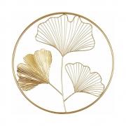 Escultura 3 Folhas Douradas em Metal de Parede