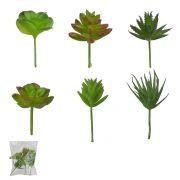Suculentas Sortidas artificial com Vaso Verde - Flor Arte
