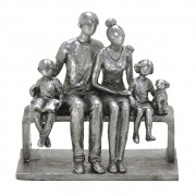 Estatueta decorativa resina prata família 257-191 Mabruk