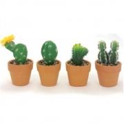 Kit Mini Cactos e Suculentas Enfeites Decorativos 4 peças - Yangzi