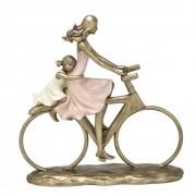 Estatueta decorativa resina mãe e filha bicicleta 257-196 Mabruk