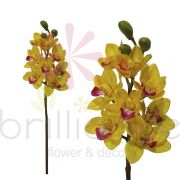 haste Artificial de Orquidea Cymbidium Amarela Com 8 Flores - Brilliance