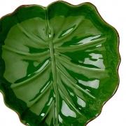 Prato Decor. Ceramica Banana Leaf Verde Liso 28,5X27X7Cm Lyor