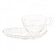 Xícara de Cristal para Chá com Pires Coração Bolinha Transparente 180ml