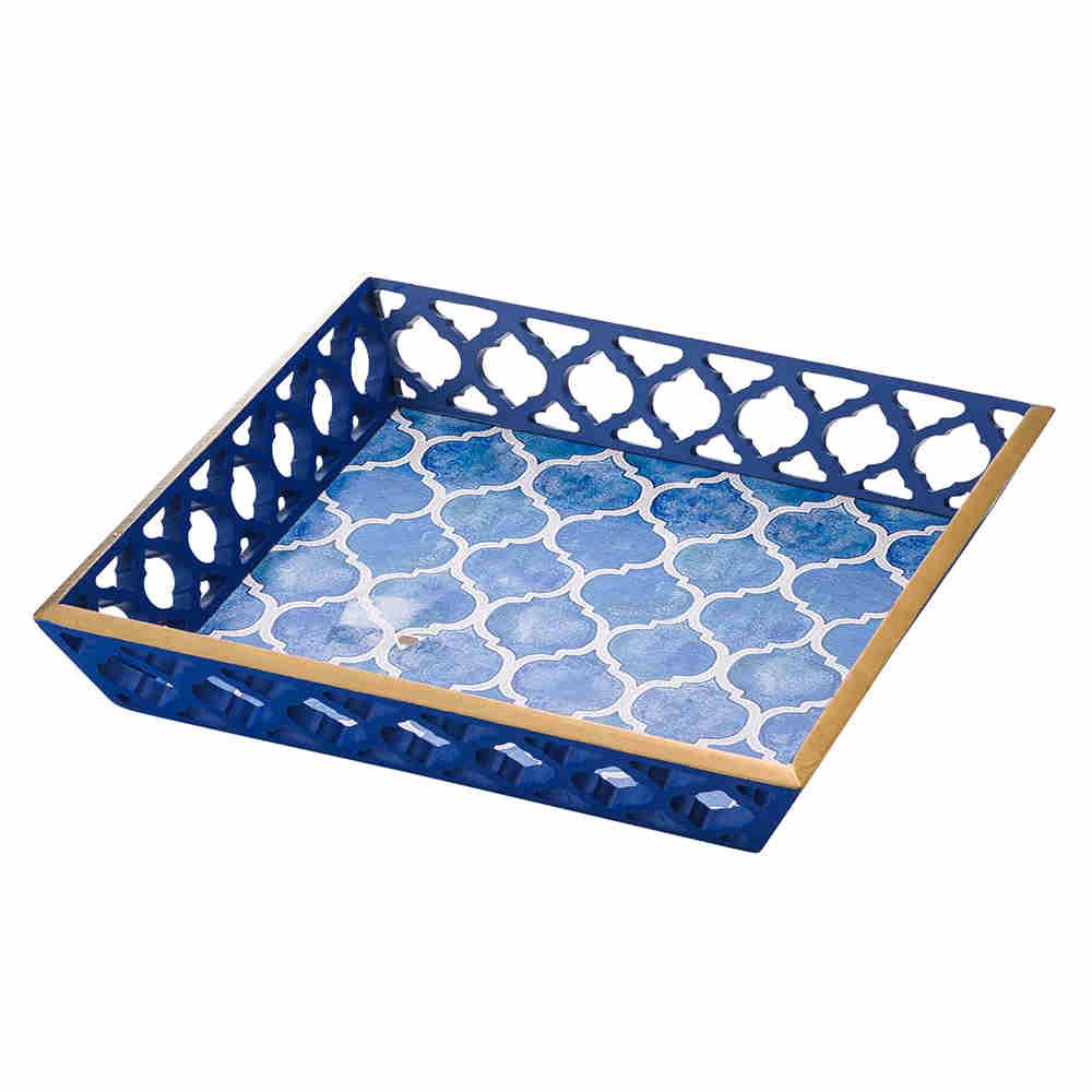 Bandeja De Madeira Blue 30X30Cm 3403 Lyor