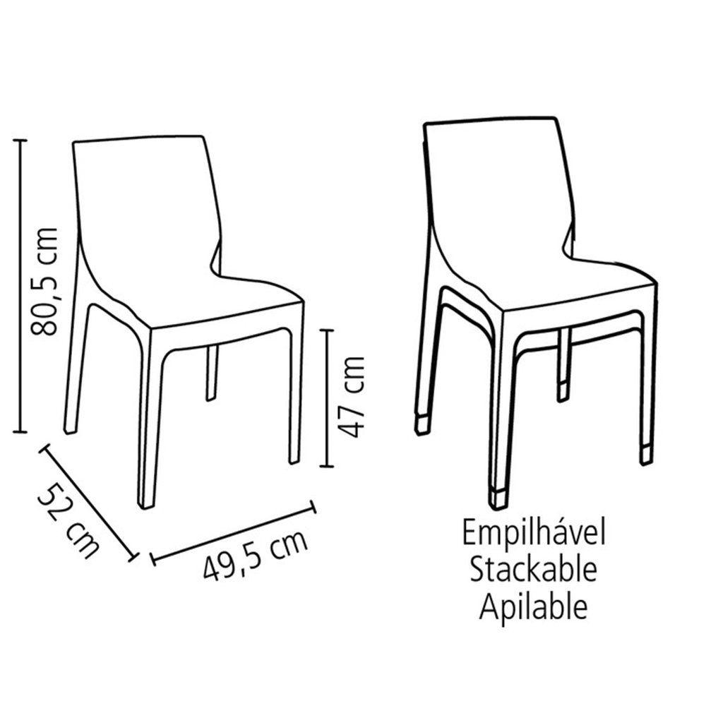 Cadeira Tramontina Alice Polida Camurça Sem Braços Em Polipropileno