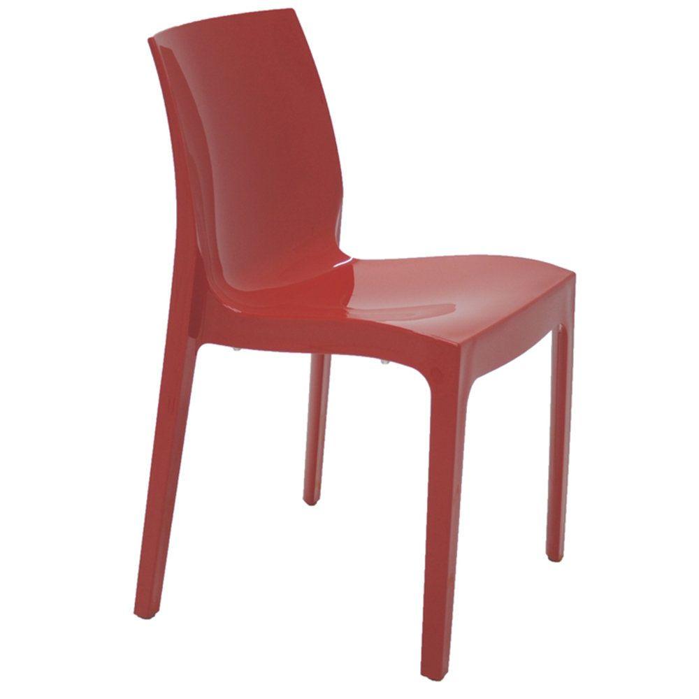 Cadeira Tramontina Alice Polida Vermelha Sem Braços Em Polipropileno