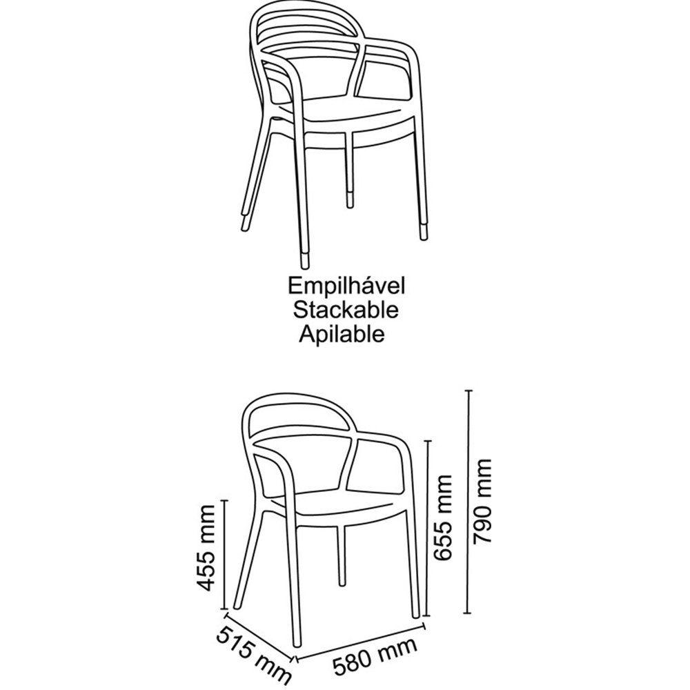Cadeira Tramontina Sissi Amarela Com Braços Em Polipropileno E Fibra De Vidro