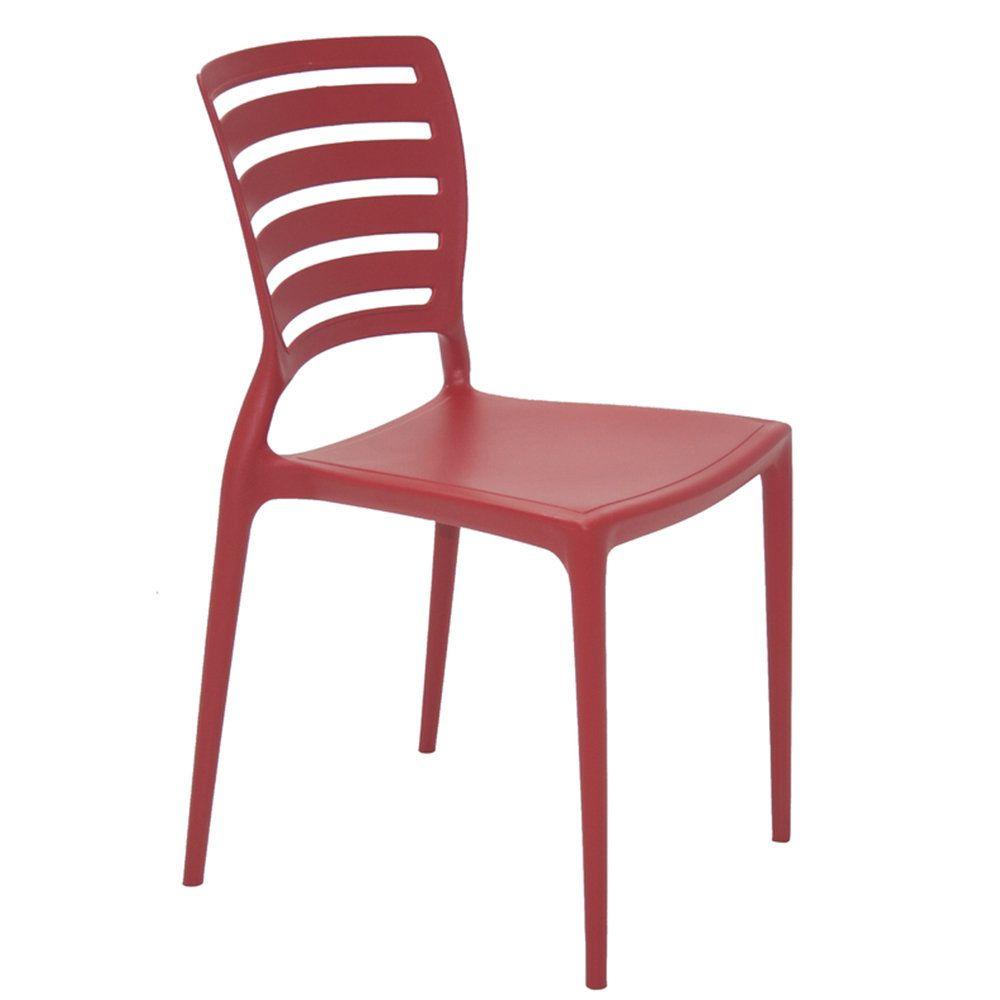 Cadeira Tramontina Sofia Vermelha Sem Braços Encosto Vazado Horizontal Em Polipropileno E Fibra De Vidro