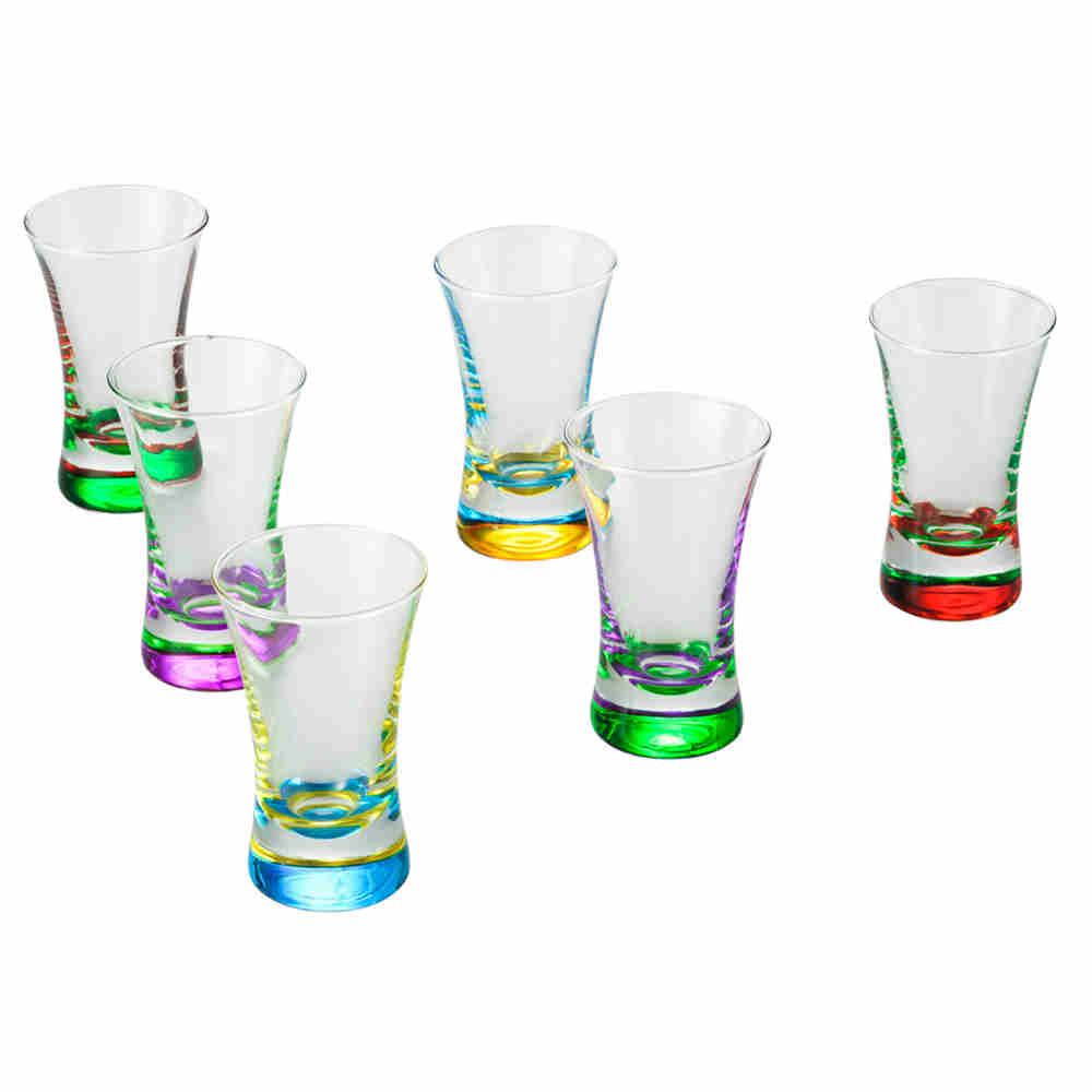 Conjunto com 6 Copos De Vidro Coloridos - Lyor