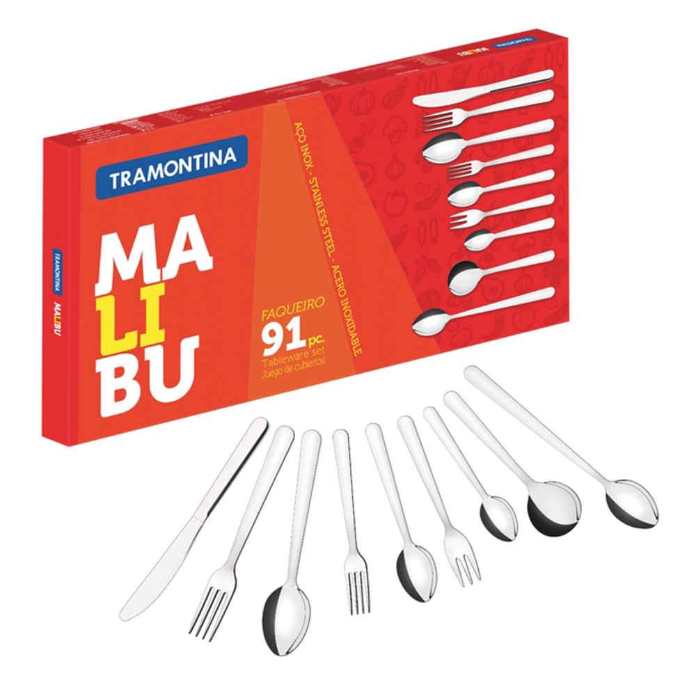 Conjunto De Talheres Inox 91 Peças Malibu Tramontina 23799037