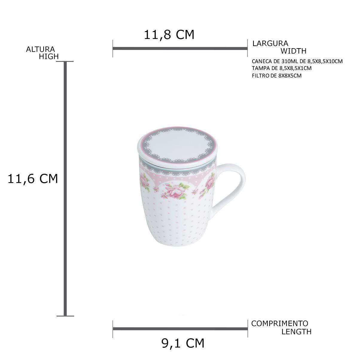Conjunto Caneca Porcelana Tampa E Filtro 310Ml 2178 Lyor