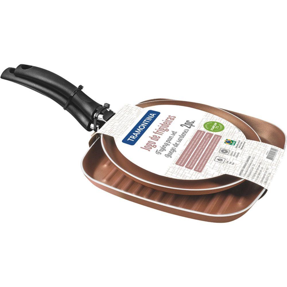 Conjunto De Bistequeira 24Cm E Frigideira 22Cm Antiaderente Turim Bronze Tramontina 20298315