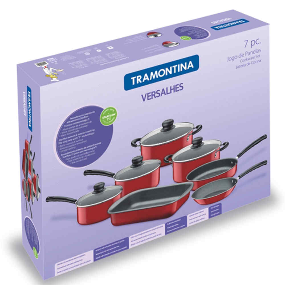 Conjunto De Panelas Alumínio Vermelha Versalhes 7 Peças Tramontina 20699743