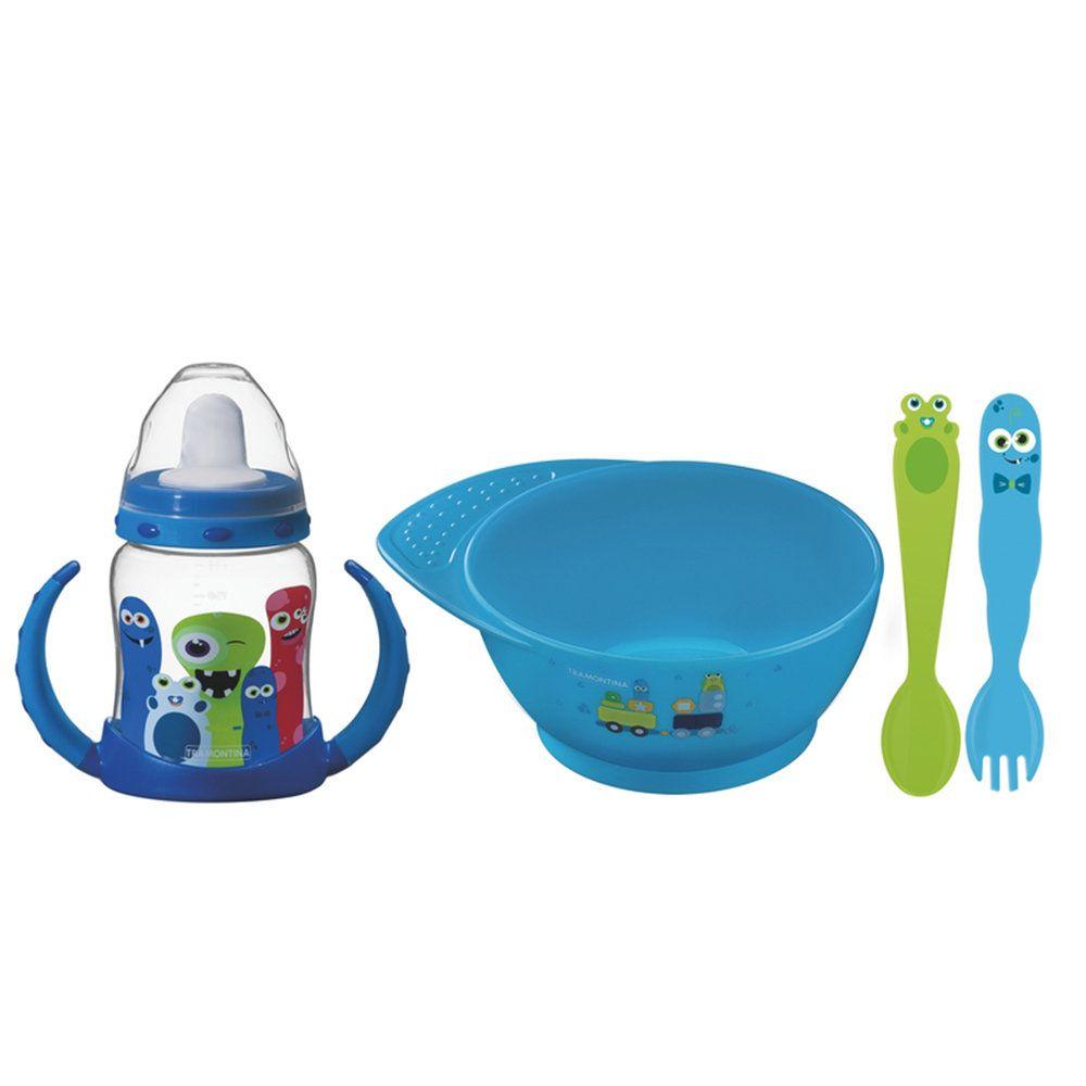 Conjunto Infantil Monsterbaby Em Polipropileno Azul 4 Peças Tramontina 23799197