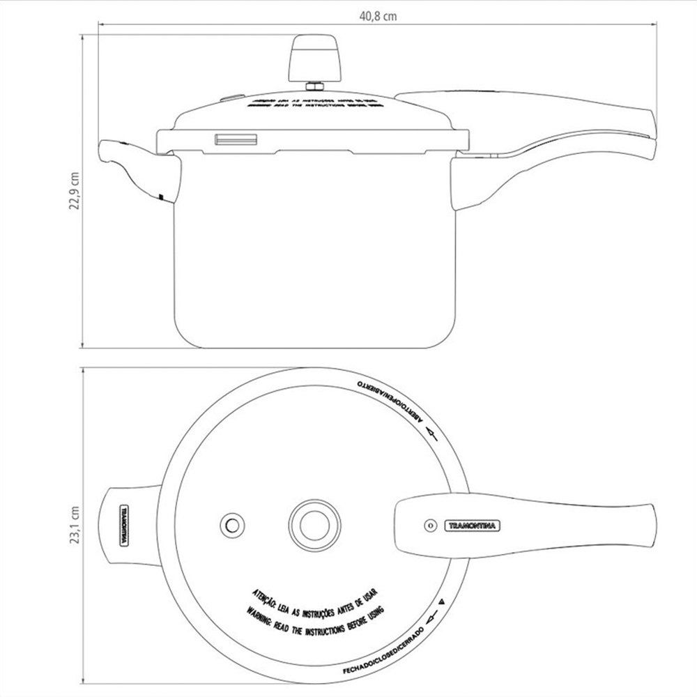 Panela De Pressão Vancouver Antiaderente Starflon T1 Vermelha 20 Cm 4,5 L Tramontina 20582720