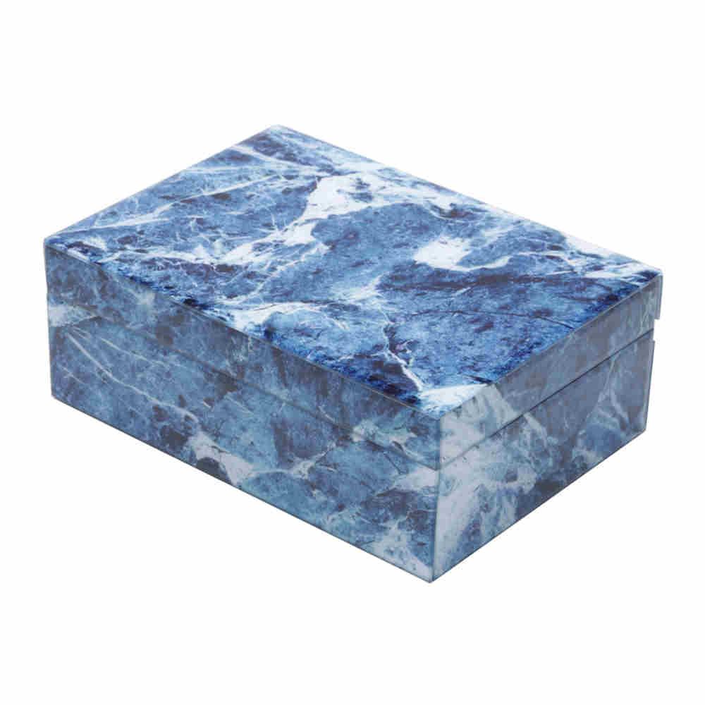 Porta jóias de vidro mármore azul e branco - Lyor
