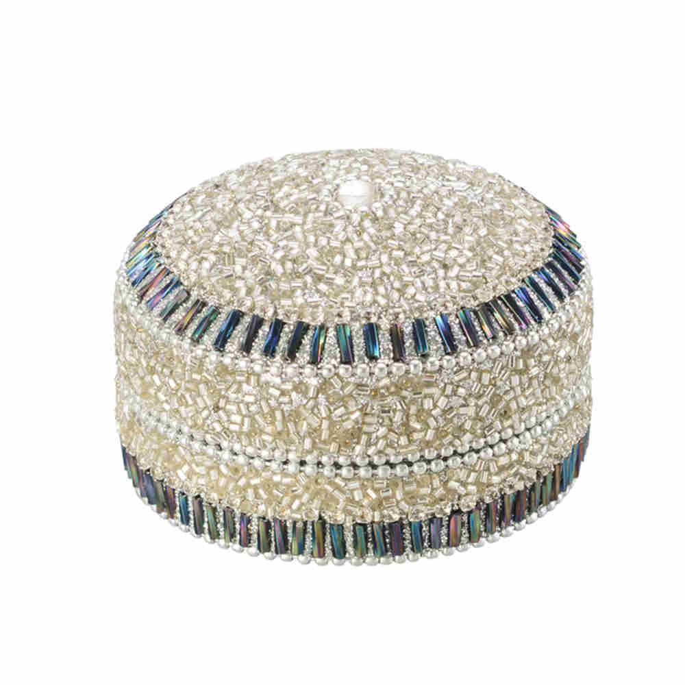Porta jóias redondo de alumínio com acabamento em vidro cor prata - Lyor