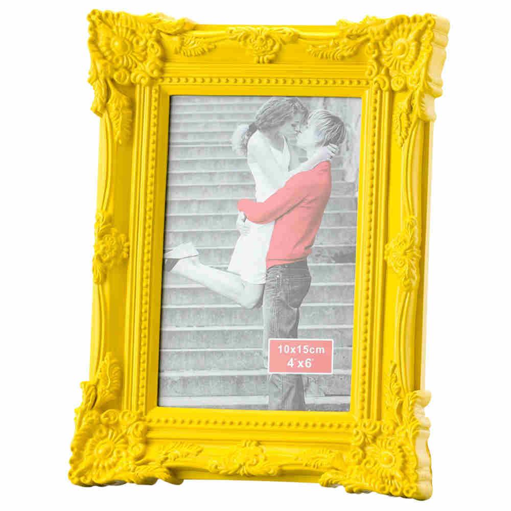 Porta Retrato De Plastico Amarelo 10X15Cm - Lyor
