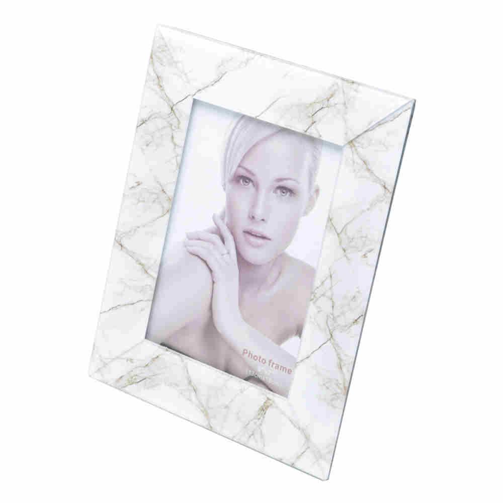 Porta Retrato de Vidro Mármore Branco 10X15Cm - Lyor