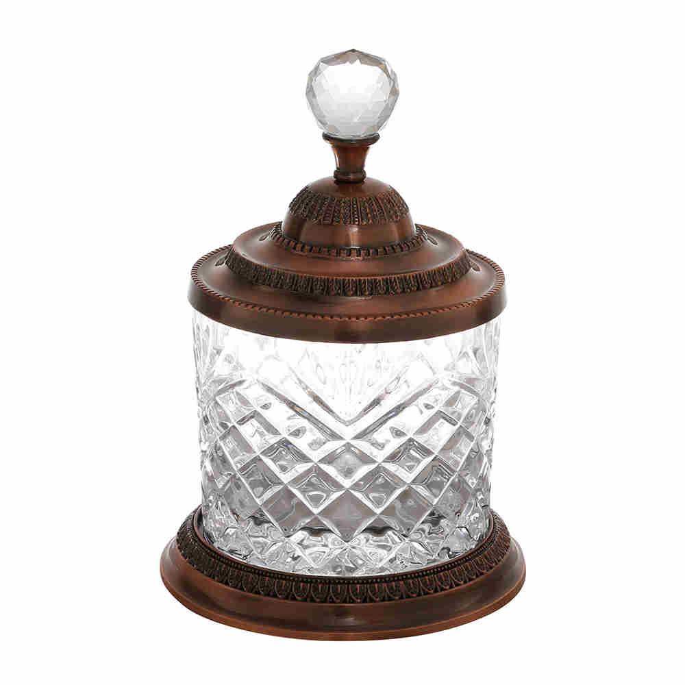 Pote Decorativo Multiuso  de Zamac Cristal Bronze - Lyor