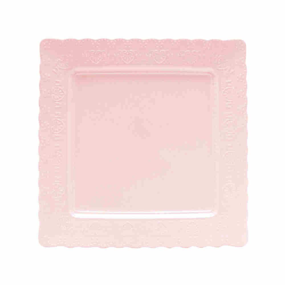Prato Sobremesa Porcelana Heart Rosa 20,3Cm - 8212 Lyor