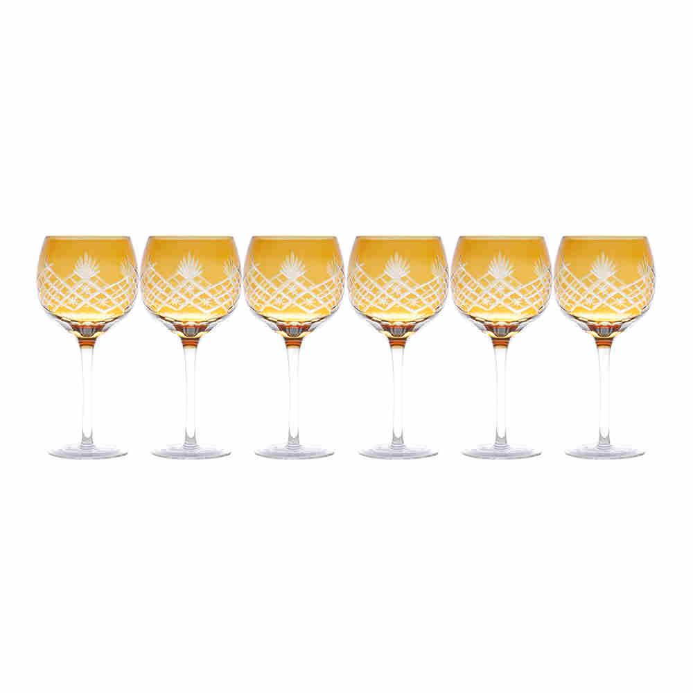 Taca P/Vinho De V Lapidadas Tro Âmbar 6602 Lyor 21cm 8cm e 370ml