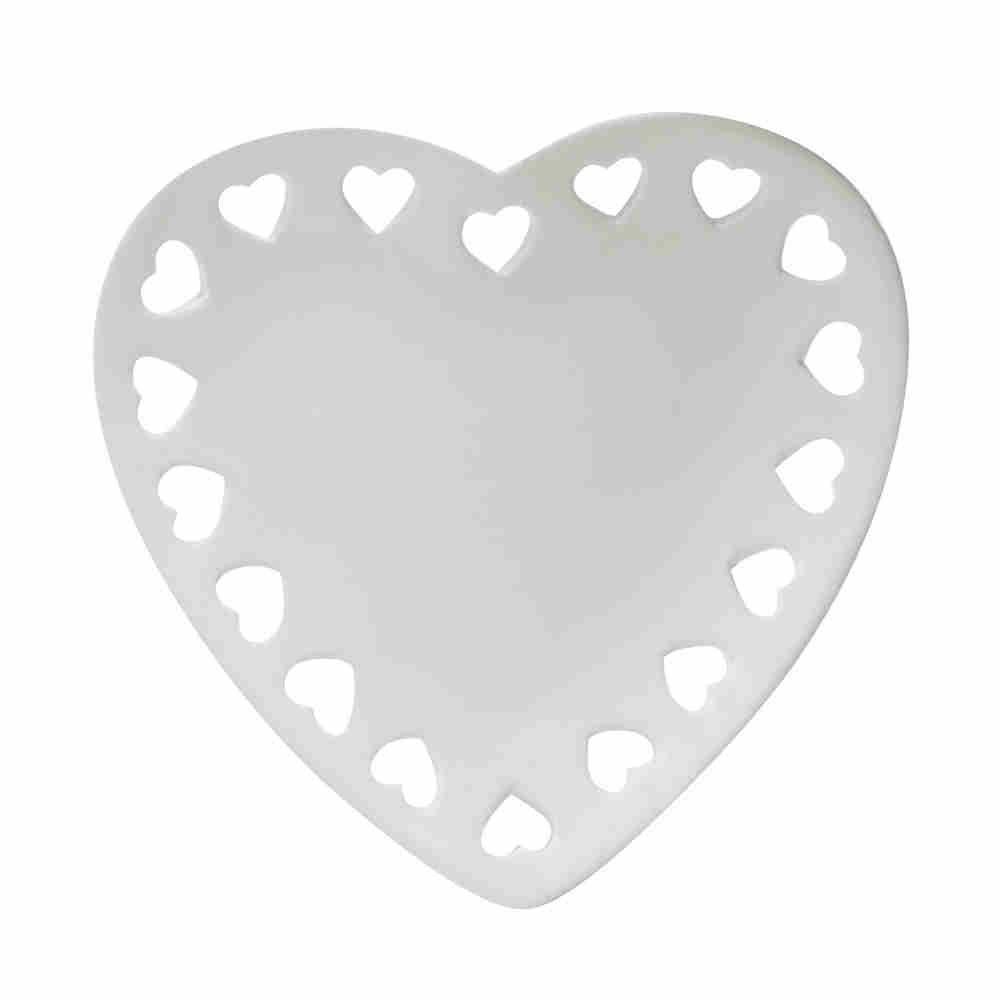 Travessa Cerâmica Coração Branco 18X17,2Cm 68276 Lyor