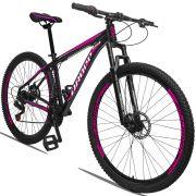 Bicicleta Aro 29 Dropp Aluminum 21v Freio a disco Mecânico Quadro 15 Preto/Rosa
