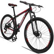 Bicicleta Aro 29 Dropp Aluminum 21v Freio a disco Mecânico Quadro 19 Preto/Vermelho
