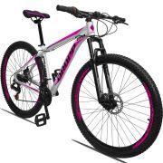 Bicicleta Aro 29 Dropp Aluminum 21v Freio a disco Mecânico Quadro 21 Branco/Rosa
