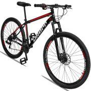 Bicicleta Aro 29 Dropp Sport 21v Câmbio Traseiro Shimano com Suspensão Quadro 19 Preto/Vermelho