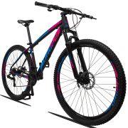 Bicicleta Aro 29 Dropp Z3 21v Câmbios Shimano Freio a Disco Hidráulico Quadro 15 Preto/Azul/Rosa