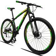 Bicicleta Aro 29 Dropp Z3 21v Câmbios Shimano Freio a Disco Hidráulico Quadro 15 Preto/Verde/Amarelo