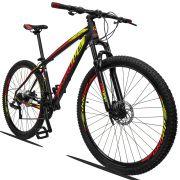 Bicicleta Aro 29 Dropp Z3 21v Câmbios Shimano Freio a Disco Hidráulico Quadro 15 Preto/Vermelho/Amarelo